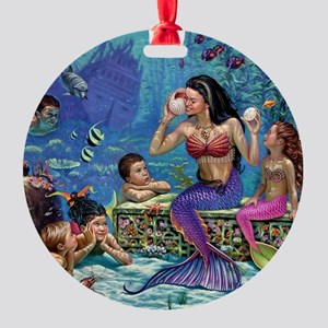 Mermaid And Her Children Round Ornament
