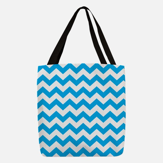Blue Chevron Polyester Tote Bag