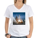 Why man invented fire Women's V-Neck T-Shirt