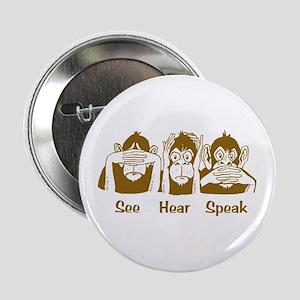 See No Evil Monkey Button