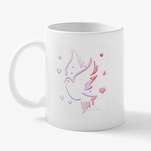 Dove Carved Pink Mug