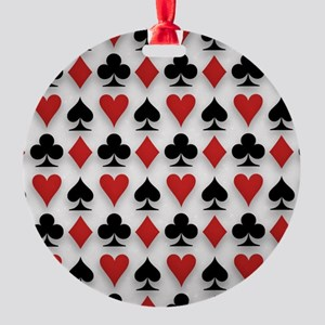 Spades Clubs Diamonds and Hearts Round Ornament