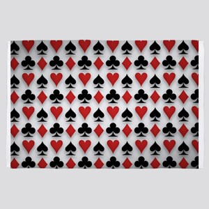 Spades Clubs Diamonds and Hearts 4' x 6' Rug