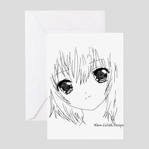 Neon Lilith Manga Girl Greeting Cards