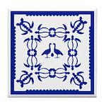 Blue Hawaiian Quilt Tile Coaster