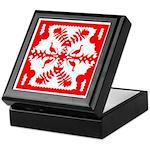 Red Hawaiian Quilt Keepsake Box