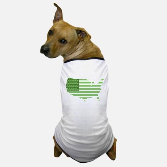 Green USA Flag Dog T-Shirt