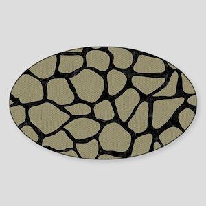 SKIN1 BLACK MARBLE & KHAKI FABRIC ( Sticker (Oval)