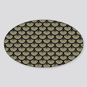 SCALES3 BLACK MARBLE & KHAKI FABRIC Sticker (Oval)