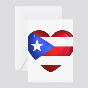 Puerto Rico flag heart Greeting Cards