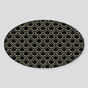 SCALES2 BLACK MARBLE & KHAKI FABRIC Sticker (Oval)