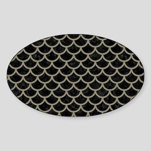 SCALES1 BLACK MARBLE & KHAKI FABRIC Sticker (Oval)