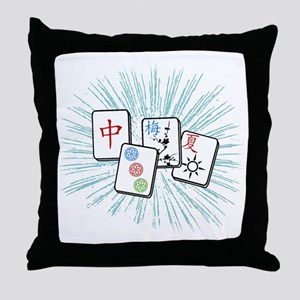 Mahjong Tile Burst Throw Pillow
