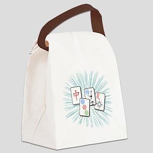 Mahjong Tile Burst Canvas Lunch Bag
