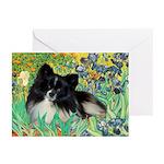 Irises / Pomeranian(bb) Greeting Cards (Pk of 10)