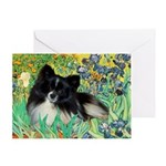 Irises / Pomeranian(bb) Greeting Card