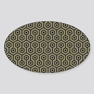 DIAMOND1 BLACK MARBLE & KHAKI FABRI Sticker (Oval)
