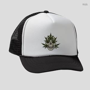 marijuana skull Kids Trucker hat
