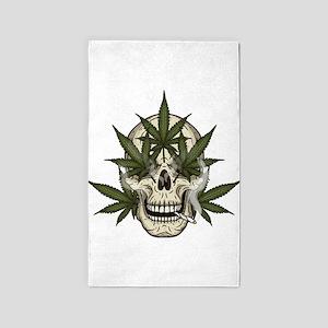 marijuana skull Area Rug