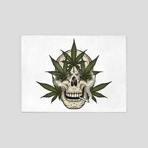 marijuana skull 5'x7'Area Rug