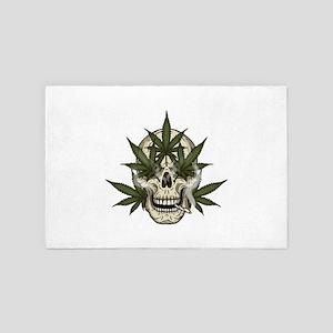 marijuana skull 4' x 6' Rug
