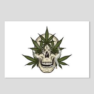 marijuana skull Postcards (Package of 8)
