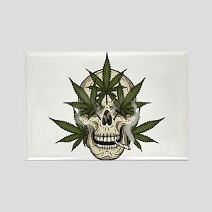 marijuana skull Magnets