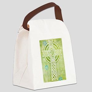 Green Celtic Cross Canvas Lunch Bag