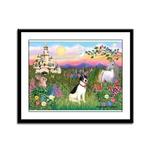 Castle / Rat Terrier Framed Panel Print
