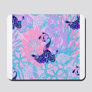 floral pink peacock Mousepad
