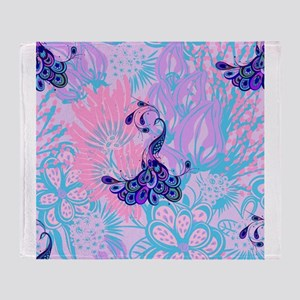 floral pink peacock Throw Blanket