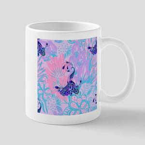 floral pink peacock Mugs