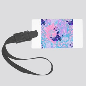 floral pink peacock Large Luggage Tag