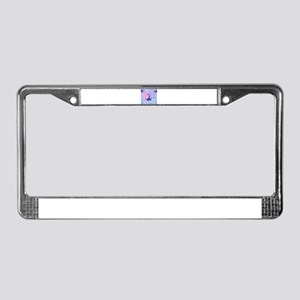 floral pink peacock License Plate Frame
