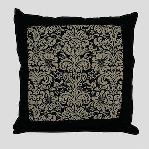 DAMASK2 BLACK MARBLE & KHAKI FABRIC ( Throw Pillow