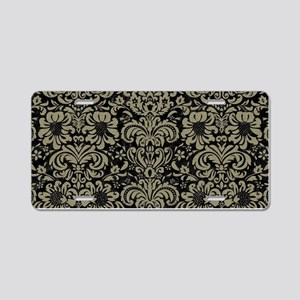 DAMASK2 BLACK MARBLE & KHAK Aluminum License Plate
