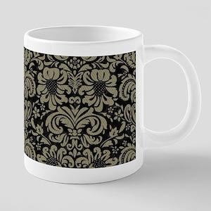 DAMASK2 BLACK MARBLE & KHAK 20 oz Ceramic Mega Mug