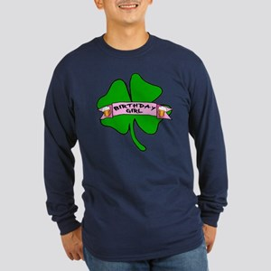 Birthday Girl with Beer and Shamrock Long Sleeve D