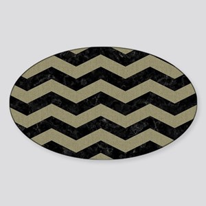 CHEVRON3 BLACK MARBLE & KHAKI FABRI Sticker (Oval)