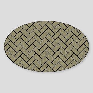 BRICK2 BLACK MARBLE & KHAKI FABRIC Sticker (Oval)