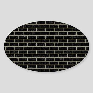 BRICK1 BLACK MARBLE & KHAKI FABRIC Sticker (Oval)