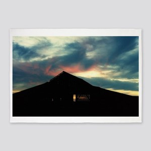 Harvest Moons Sunset Barn 5'x7'Area Rug