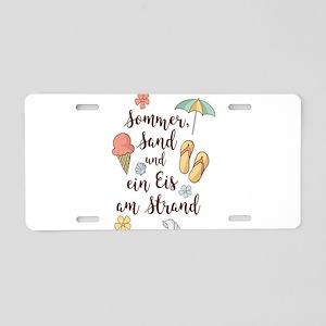 Sommer, Sand und ein Eis am Aluminum License Plate