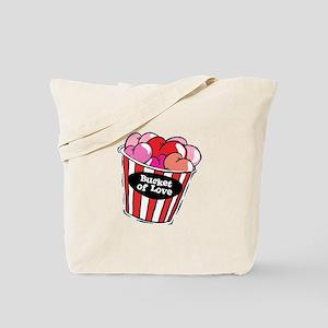 Funny Bucket of Love Design Tote Bag