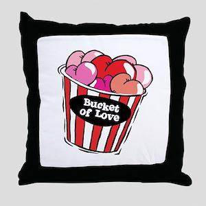 Funny Bucket of Love Design Throw Pillow