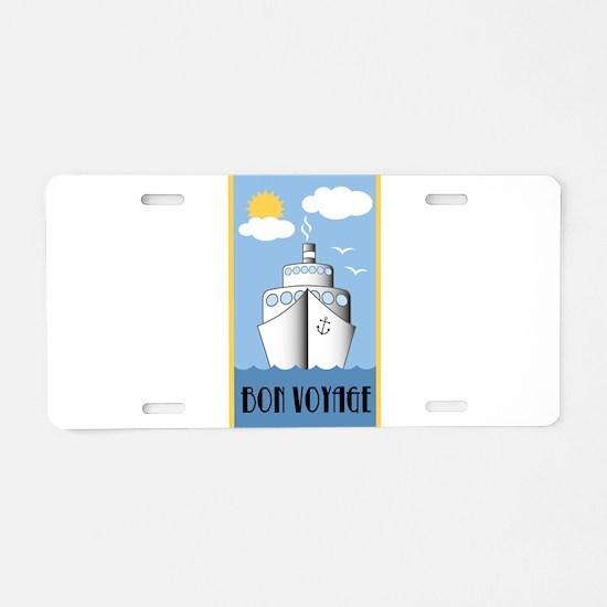 Bon Voyage Cruise Ship Aluminum License Plate