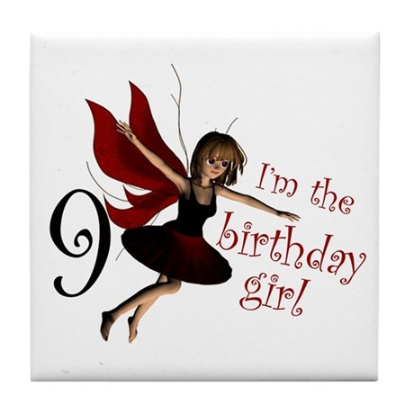 Birthday Girl 9 Red Fairy Tile Coaster