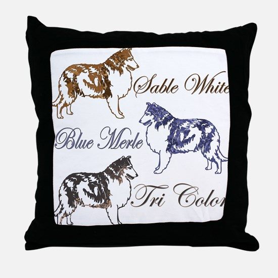 Three Collie Colors Throw Pillow