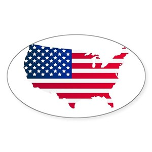 America Usa Map Flag Continent Country Red Art Blu Stickers - CafePress