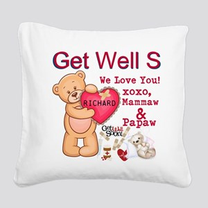 Get Well Soon Personalize Square Canvas Pillow